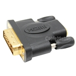 DVI-D Male to HDMI Feale Inline Adapter, Gold Plated