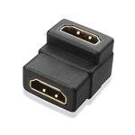 HDMI Female to HDMI Female 90 Degree Angle Coupler, Gold Plated