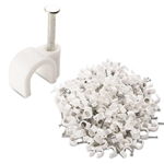 100 Pack White Plastic Coax Cable Clips RG6 1