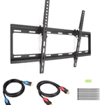Tilt TV Wall Mount for 37-70 inch LCD/LED with 2-Pack 6 Feet High Speed HDMI Cable