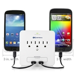 3-Outlet Wall Mount Surge Protector with USB Charging and Slide-Out Smartphone Holders