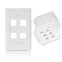 Wall Plate for Keystone, 4 Hole - White