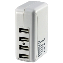 AC Travel Adapter for up to 4 USB Powered Devices (Silver)