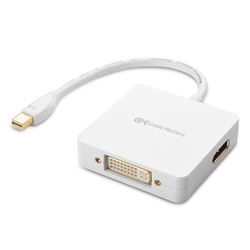 Mini DisplayPort Male to HDMI, DVI, DisplayPort Female 3-in-1 Adapter