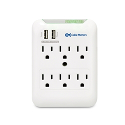 6-Outlet Wall Mount Surge Protector with 2.4A Dual USB Charging