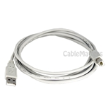 6ft A Male to B Male USB 2.0 Cable in Gray (regular USB type)