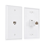 Cable Matters 2 Pack 1-Port Keystone Jack Wall Plate with Cat6 RJ45 Insert / Cat6 Ethernet Wall Plate