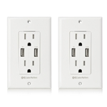 Cable Matters Tamper Resistant Duplex AC Outlet with 3.4A USB Charging and Faceplate