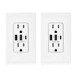 Cable Matters 2-Pack 15A TR Duplex Receptacle with 6.0A USB-A/C and Wall Plate