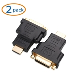 Cable Matters 2 Pack Gold Plated HDMI to DVI Adapter (HDMI Male to DVI Female)