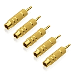 Cable Matters 5-Pack, Gold Plated 3.5mm to 6.3 mm (1/4 inch) Male to Female Stereo Adapter
