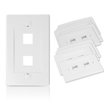 Cable Matters [UL Listed] (10 Pack) Wall Plate with 2-Port Keystone Jack
