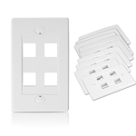 [UL Listed] Cable Matters 10-Pack 4 Port Keystone Wall Plate (Cat6 / Cat5e Ethernet Wall Plate) in White
