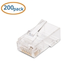(200-Pack) Cat 6 RJ45 Modular Plugs with Load Bars for Solid UTP Cable