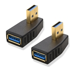 2-Pack, Right Angle SuperSpeed USB 3.0 Male to Female Adapter