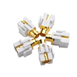 (5-Pack) Gold-Plated BNC Keystone Jack Inserts in White