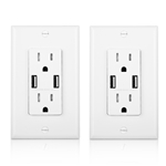 Cable Matters 2-Pack Tamper Resistant 15A Duplex Outlet with 4A USB Charging