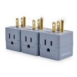 (3-Pack) 3-Outlet Grounded Cube Wall Tap