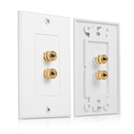 Cable Matters 2-Pack Banana Jack Binding Post Wall Plate for 1 Speaker in White