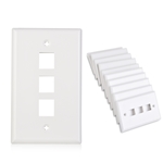 Cable Matters (10-Pack) Low Profile 3-Port Cat5e / Cat6 Keystone Jack Wall Plate