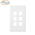 Cable Matters [UL Listed] 10-Pack Low Profile 6 Port Keystone Jack Wall Plate in White
