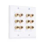 Double-Gang Banana Plug Binding Post Wall Plate for 6 Speakers