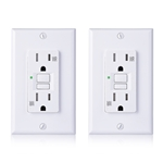Cable Matters (2-Pack) 15 Amp Tamper Resistant & Weather Resistant GFCI Outlet/WR GFCI Outlet with Wall Plate