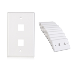 Cable Matters (10-Pack) Low Profile 2-Port Keystone Jack Wall Plate