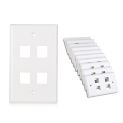Cable Matters (10-Pack) Low Profile 4-Port Cat5e / Cat6 Keystone Jack Wall Plate