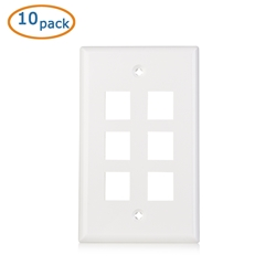 Cable Matters (10-Pack) Low Profile 6-Port Cat5e / Cat6 Keystone Jack Wall Plate