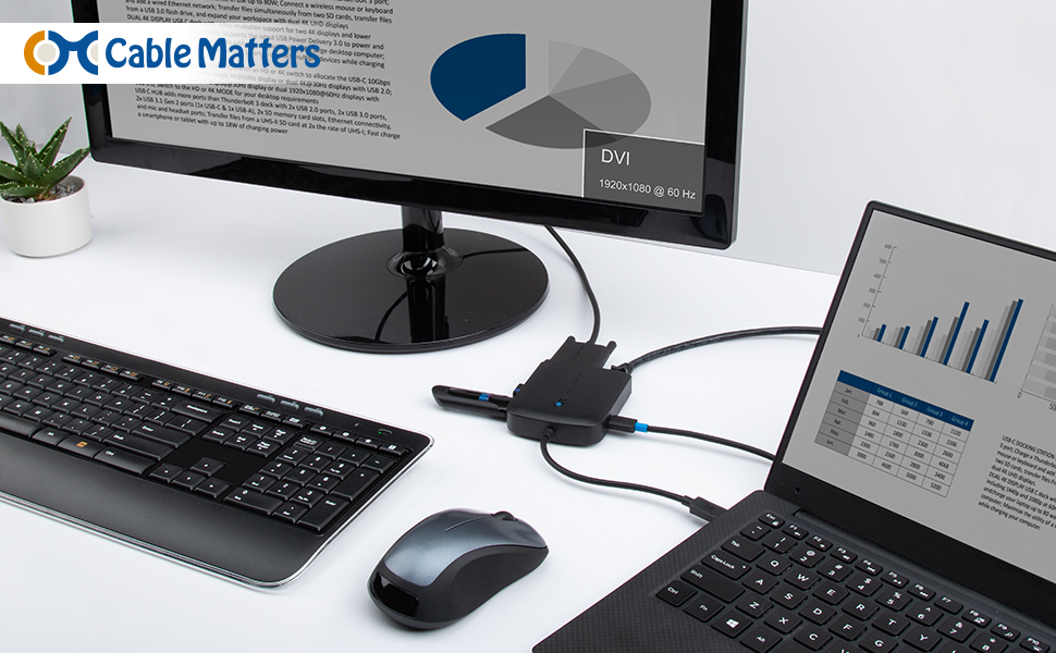 Cable Matters USB C Multiport Adapter (USB C Hub with DVI), 2X USB 3.0, Gigabit Ethernet, and 60W PD