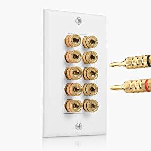 10 Binding Post 5 Speaker Banana Jack 2-Piece Surround Sound Wall Plate White