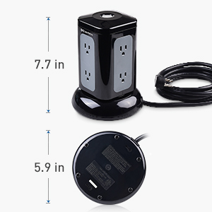 Cable Matters 6 Outlet Tower Surge Protector with 4.2A USB Charging and 10 Foot Power Cord in Black