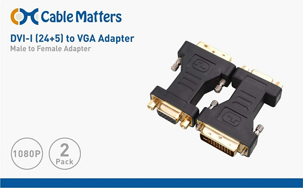 DVI I to VGA, VGA to DVI I Cable Matters 2-Pack DVI-I to VGA Adapter