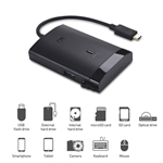 "Cable Matters Gen 2 10Gbps USB-C Multiport Adapter (USB C Dock) with USB-A & USB-C, MicroSD & UHS-II SD Card Reader, and 2.5""/3.5"" SATA Hard Drive/Optical Drive Reader - Thunderbolt 3 Port Compatible"
