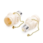 Cable Matters 2 Pack Light Bulb Socket Adapter with Pull Chain / 2 Outlet Socket Adapter in Light Almond