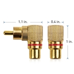 Cable Matters 2 Pack Right Angle RCA Adapters / 90 Degree RCA Adapter