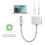 Cable Matters USB-C to 3.5mm Digital Audio Adapter with Power Delivery