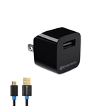 1-Port USB Mini Wall Charger with 3 Foot Micro-USB Charging Cable