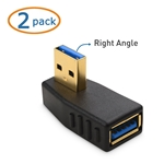 Cable Matters 2-Pack Right Angle USB 3.0 Male to Female Adapter