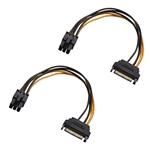 Cable Matters 2-Pack 6 Pin PCIe to SATA Power Cable 8 Inches