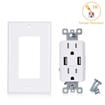 Cable Matters 2-Pack Tamper Resistant 15A Duplex Outlet with USB Charging up to 4-Amp (Electrical Receptacle with USB Outlet/USB Wall Outlet) - White