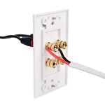 Cable Matters 2-Pack Banana Jack Binding Post Wall Plate for 2 Speakers in White