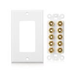 Cable Matters Speaker Wire Wall Plate (Speaker Wall Plate / Banana Plug Wall Plate) for 5 Speaker