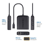 Cable Matters USB C Multiport Adapter (USB C Dock with USB C to DisplayPort 4K 60Hz), 2X USB 2.0, Fast Ethernet, and 60W PD - USB-C & Thunderbolt 3 Port Compatible for MacBook Pro and More