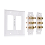 Cable Matters Double Gang Speaker Wall Plate with Binding Post for 6 Speakers