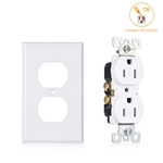 Cable Matters (10-Pack) Tamper Resistant Duplex Receptacle 15 Amp Electrical Outlet with Wall Plate